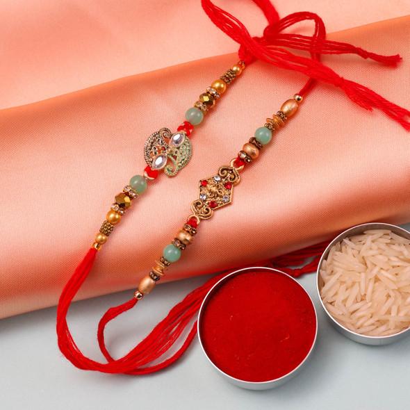 Lucky Ganesha With Diamond Rakhi Set - For Australia