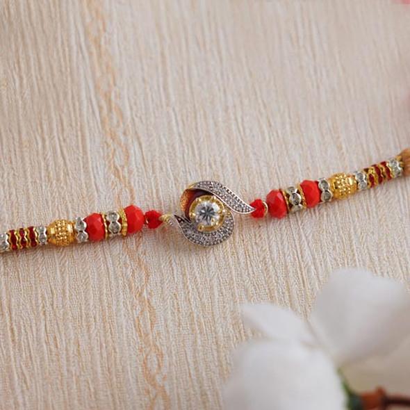 Traditional AD Stone Designer Rakhi - For INDIA