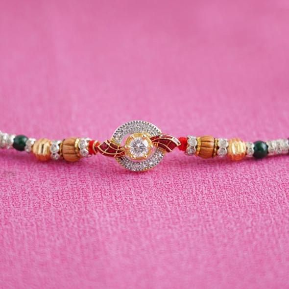 Stunning AD Stone Rakhi- For INDIA