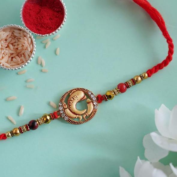 Ethnic Ganesha Designer Rakhi - For INDIA