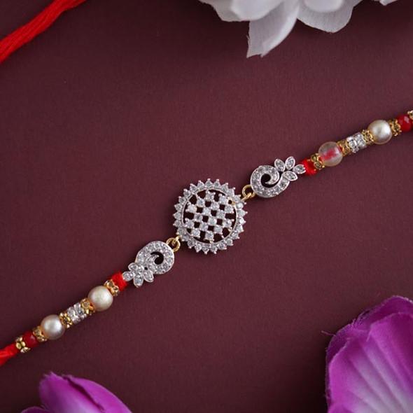 Round AD Stone Designer Rakhi- For INDIA