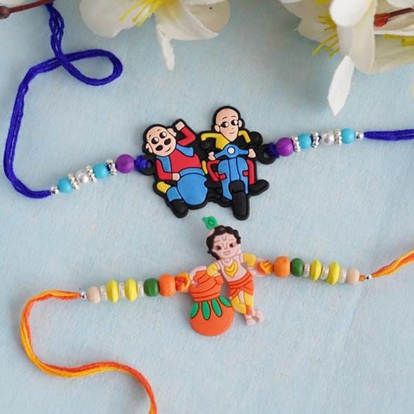 Motu Patlu Rakhi and Chhota Bheem Kid's Rakhi Set - For INDIA