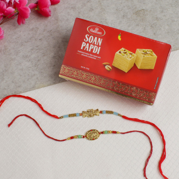 Two Fancy Designer Rakhis With Soan Papdi - For Europe