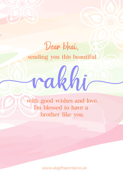 Rakhi Good Wish Card For Brother - For UK