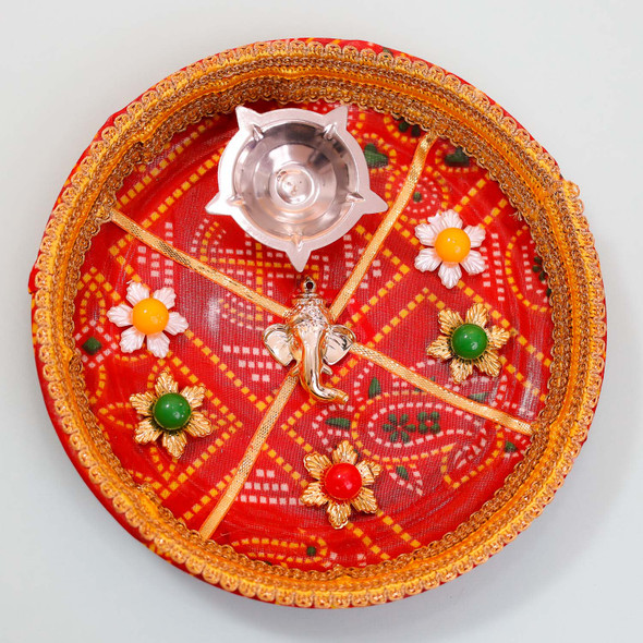 Astonishing Designer Rakhi with Puja Thali - For Australia