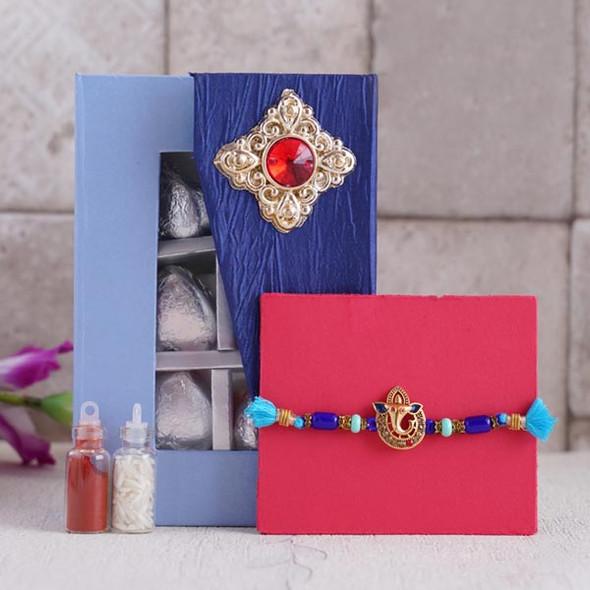 Ganesha Rakhi with Assorted Chocolates - For INDIA
