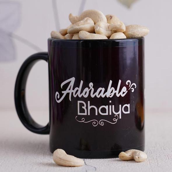 Golden Swastika Rakhi with Black Mug - For INDIA