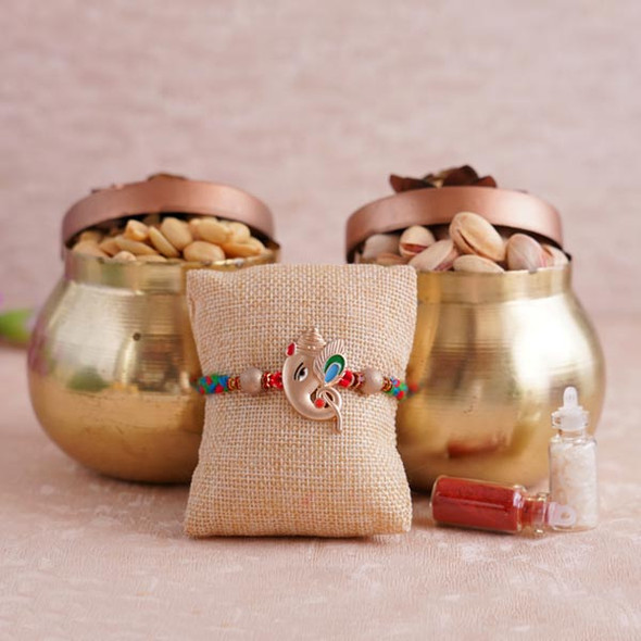 Ganesha Rakhi with Dryfruits in Containers - For INDIA