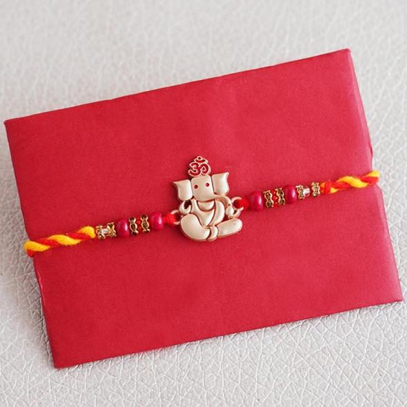 Ganesha Rakhi with Haldiram Besan Laddu - For INDIA
