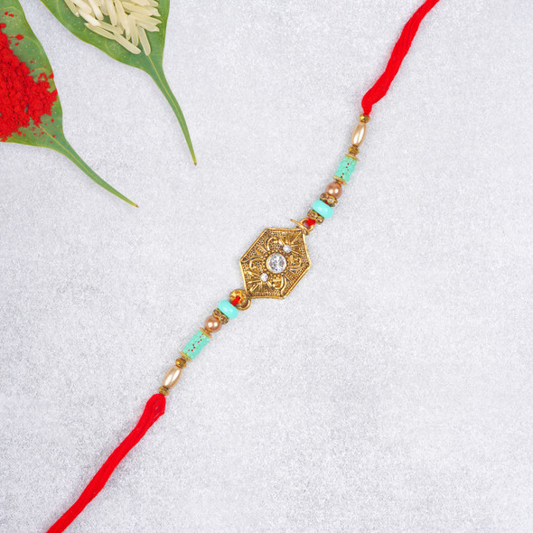 Premium Diamond on Metal Designer Rakhi - For USA