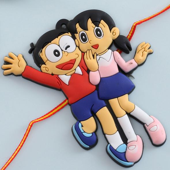 Nobita-Shizuka Kids Rakhi - For USA