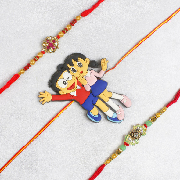 Nobita-Shizuka Family Bhaiya Rakhi Set - For USA