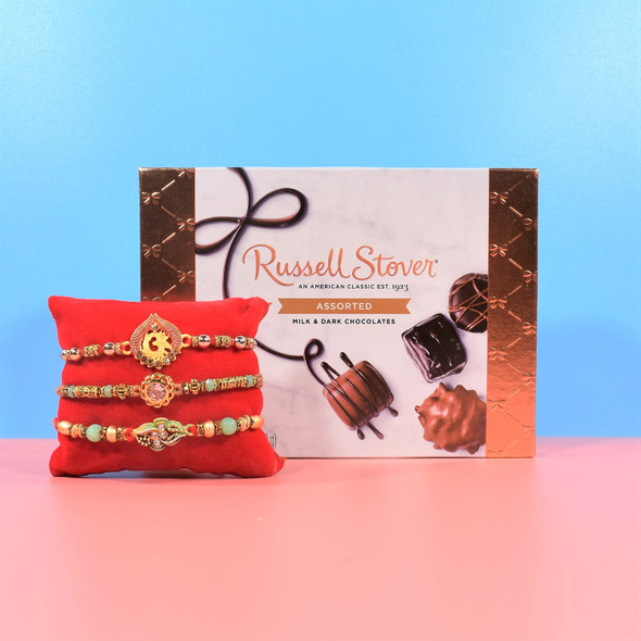 Three Rakhi Set with Russell Stover Assorted Chocolate - For USA