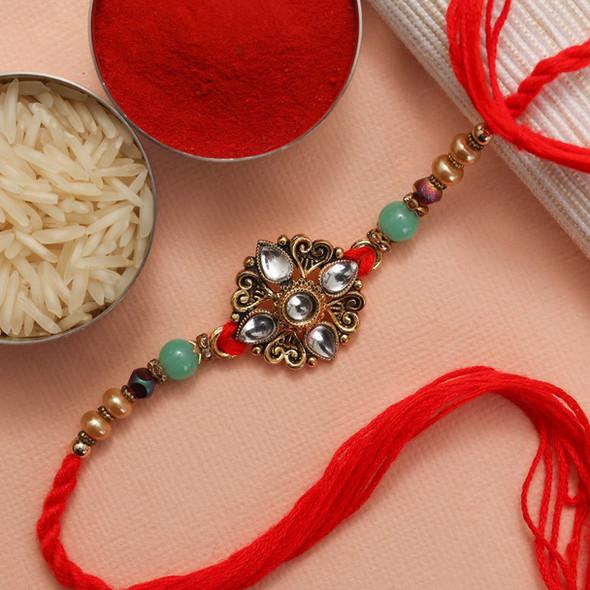 Kundan Diamond Rakhi with Sweet & Cashew Nuts - For USA