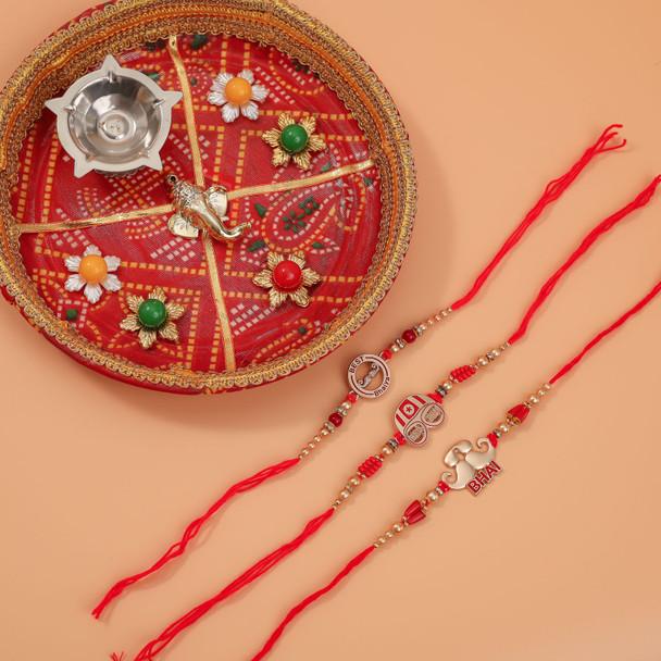 Sizzling Rakhi Set of 3 with Puja Thali - For Australia