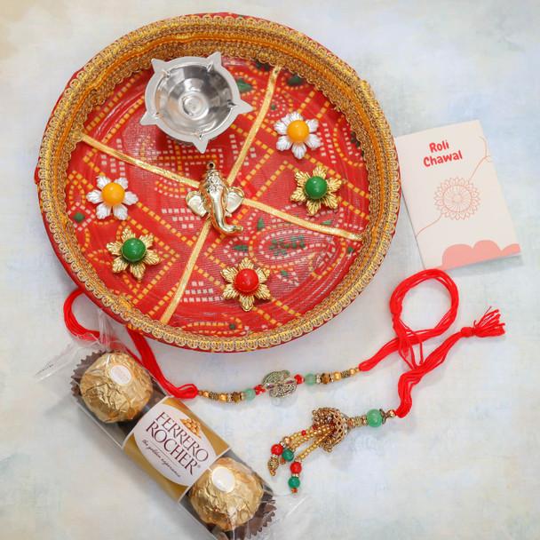 Bhaiya Bhabhi Rakhi With Chocolate and Puja Thali - For Australia