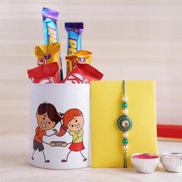 Designer Rakhi with Mug and Chocolates - For INDIA