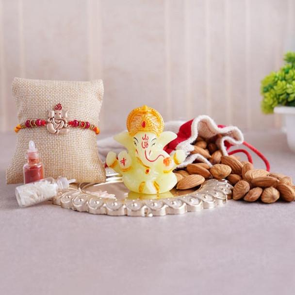 Ganesha Rakhi with Almonds N Ganesha Idol - For INDIA