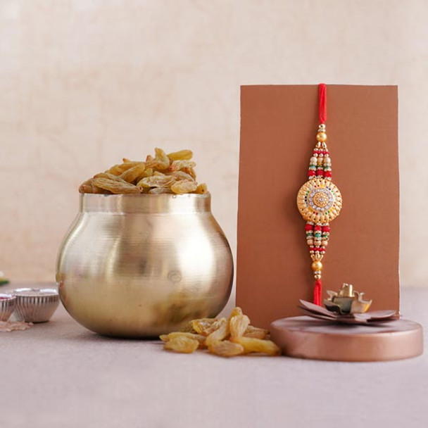 Golden Rakhi with Resins in Container - For INDIA