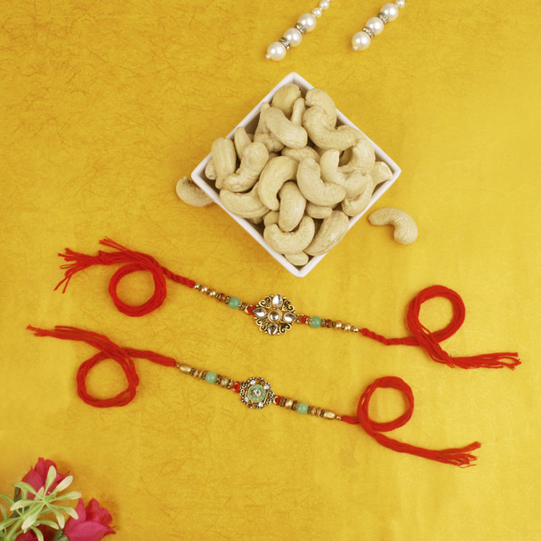 Pleasant Rakhi Set with Cashew Nuts - For Europe
