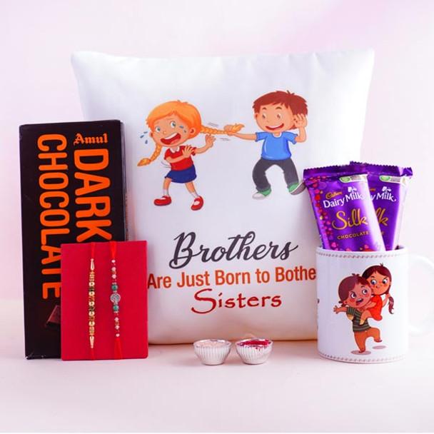Rakshabandhan Cushion N Mug with Chocolates N Two Rakhis - For INDIA