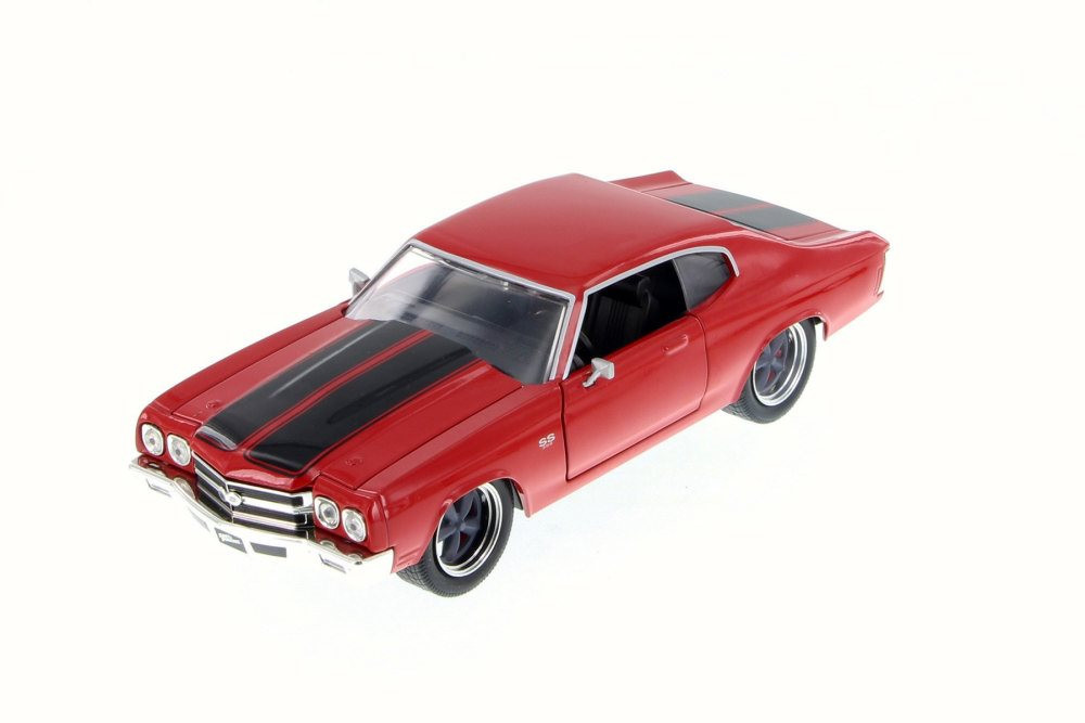1970 Dom's Chevy Chevelle SS, Glossy Red - Jada 97193 - 1/24 Scale Diecast Model Toy Car