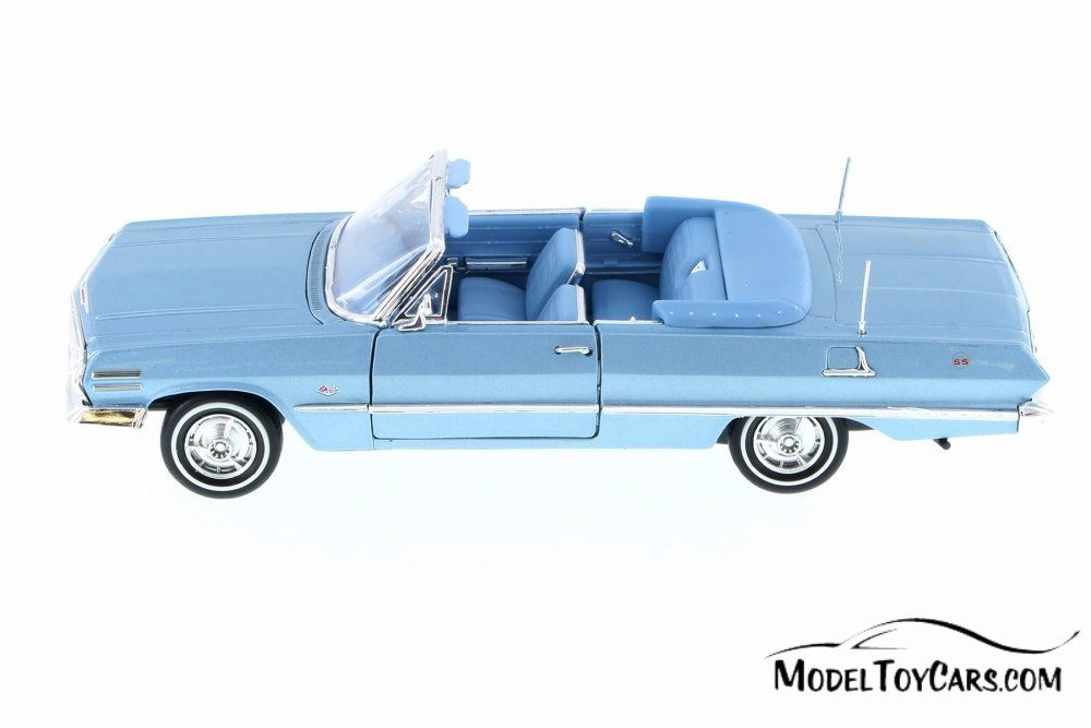 1963 Chevy Impala Convertible, Pastel Blue - Welly 22434WBU - 1/24 Scale Diecast Model Toy Car