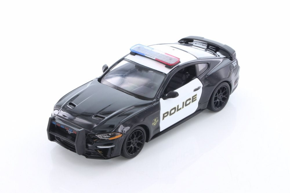 2018 Ford Mustang GT, Black with White - Motormax 76968D - 1/24 Scale Diecast Model Toy Car