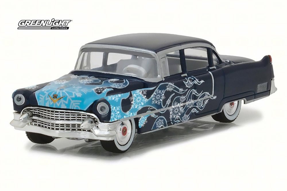 1955 Cadillac Fleetwood Series 60, Black with Blue - Greenlight 37120/48 - 1/64 Scale Diecast Model Toy Car