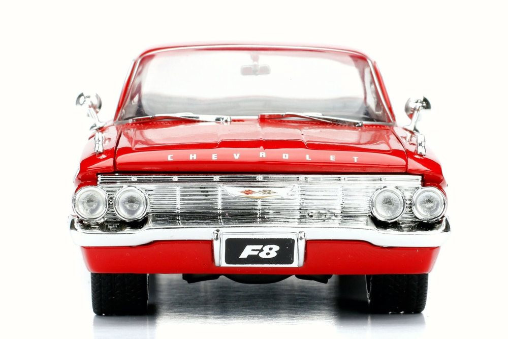 1961 Dom's Chevy Impala F8 Fate of Furious, Red - Jada 98426 - 1/24 Scale Diecast Model Toy Car