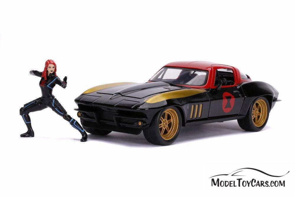 1966 Chevy Corvette, Black Widow - Jada 31749/4 - 1/24 scale Diecast Model Toy Car