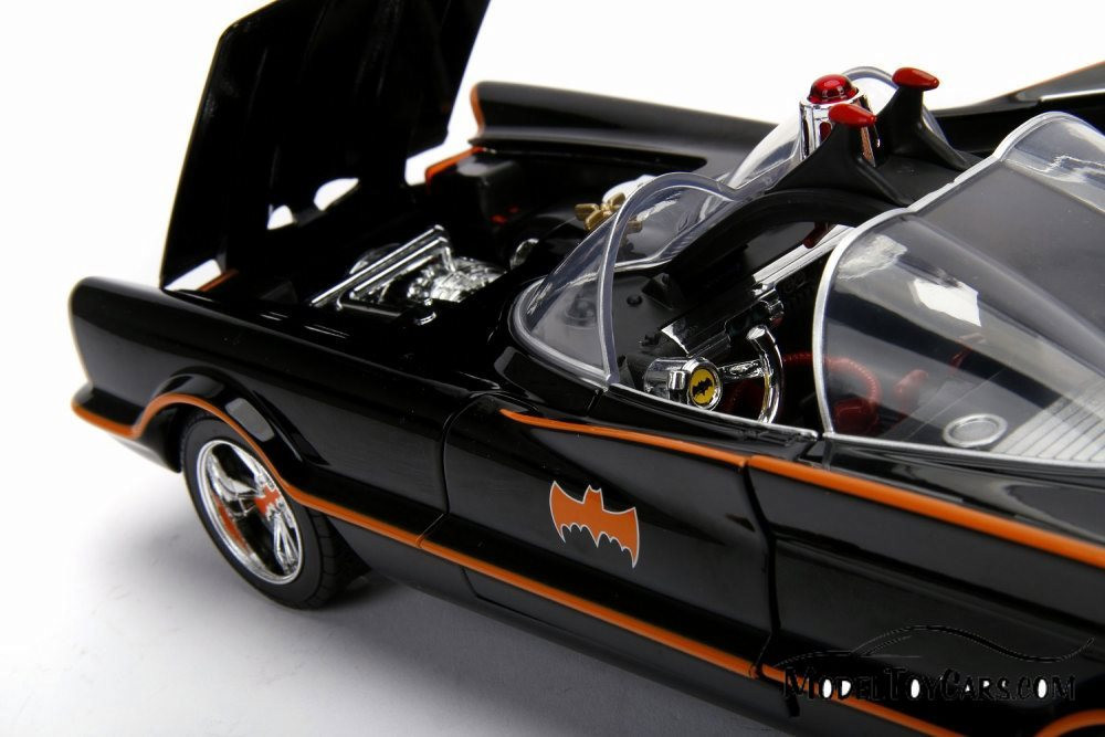 Batmobile Working lights with Batman and Robin Figures, 1966 Classic TV Series - Jada 98625 - 1/18 scale Diecast Model Toy Car