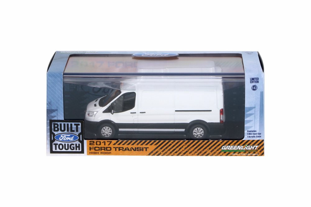 2017 Ford Transit High Roof Van, White - Greenlight 86083 - 1/43 Scale Diecast Model Toy Car
