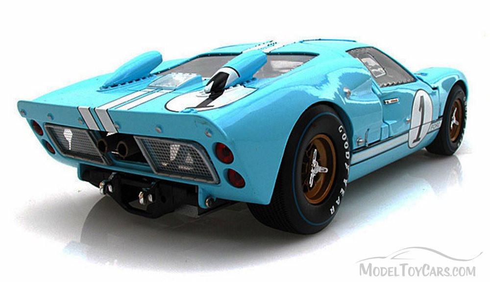 1966 Ford GT-40 MK II #1, Gulf Blue w/ White Stripes - Shelby  SC411 - 1/18 Scale Diecast Model Toy Car