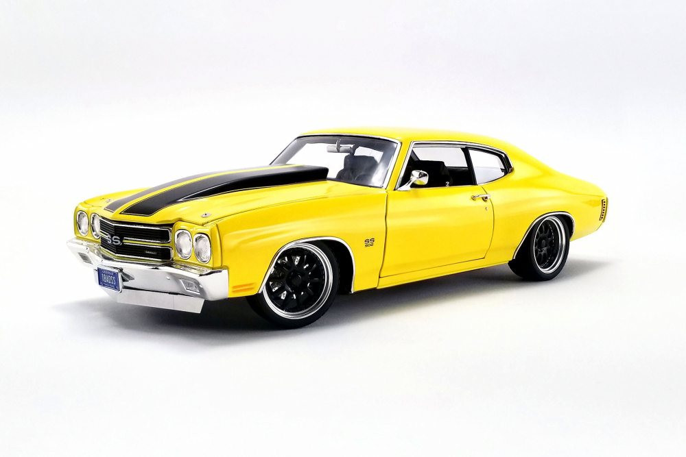 1970 Chevy Chevelle Street Fighter Hardtop, Yellow - Acme A1805515 - 1/18 scale Diecast Model Toy Car