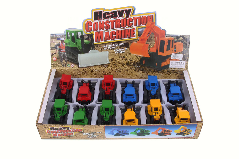 Bulldozer Heavy Construction Machine Diecast Car Package - Box of 12 4.5 Inch Scale Diecast Model Cars, Assorted Colors