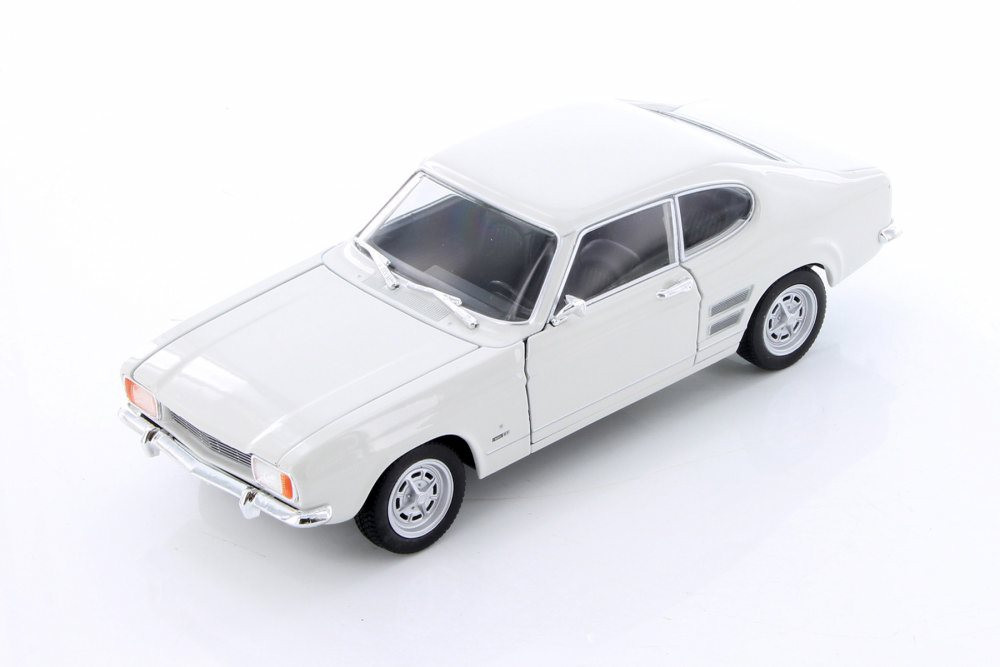1969 Ford Capri Hard Top, White - Welly 24069/4D - 1/24 Scale Diecast Model Toy Car