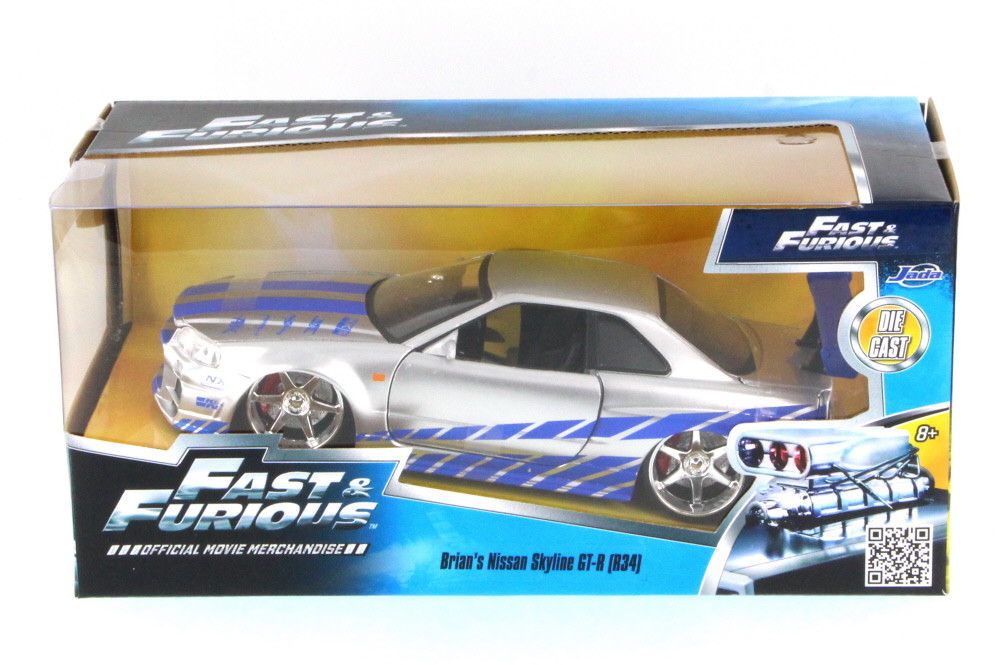 Fast & Furious Brian's Nissan Skyline GT-R, Candy Silver - Jada Toys 97158 - 1/24 Scale Diecast Model Toy Car