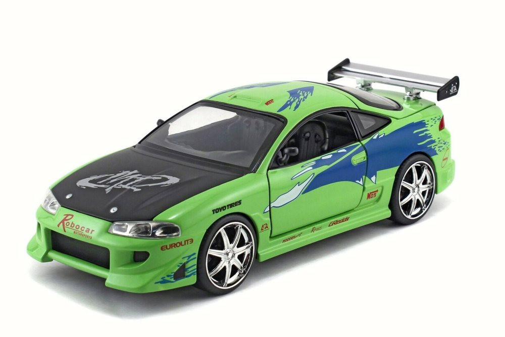 1995 Brian's Mitsubishi Eclipse, Lime Green - JADA Toys 97603/54030 - 1/24 Scale Diecast Model Toy Car