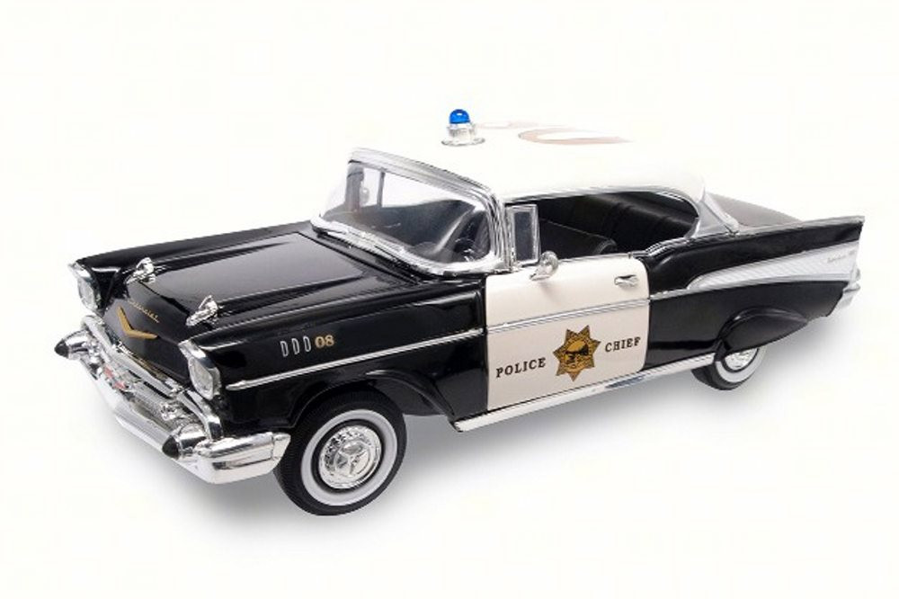 1957 Chevy Bel Air Police, Black - Lucky 92107 - 1/18 Scale Diecast Model Toy Car