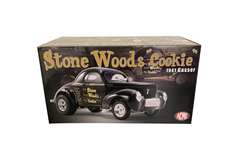 "Stone Woods ""Cookie"" Willys 1941 Gasser, Black - Acme A1800915 - 1/18 scale Diecast Model Toy Car"