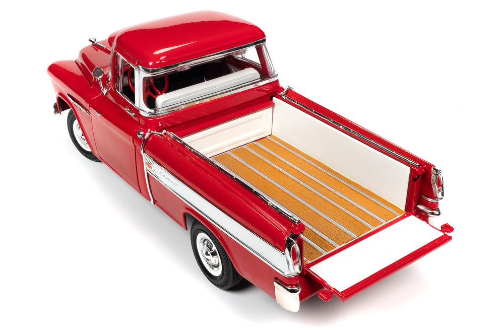 1957 Chevy Cameo Pickup Truck, Cardinal Red and White - Auto World AW265 - 1/18 scale Diecast Model Toy Car