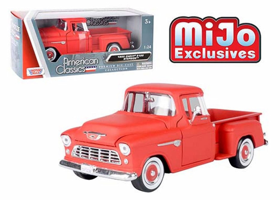 1955 Chevy Stepside Pickup, Matte Red - Motor Max 73236AC-MTRD - 1/24 scale Diecast Model Toy Car