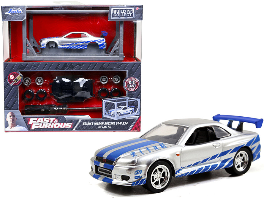 Brian's 2002 Nissan GT-R R34 Build N' Collect Die-cast Model Kit, Fast &Furious - Jada Toys 31288 - 1/55 scale Diecast Model Toy Car