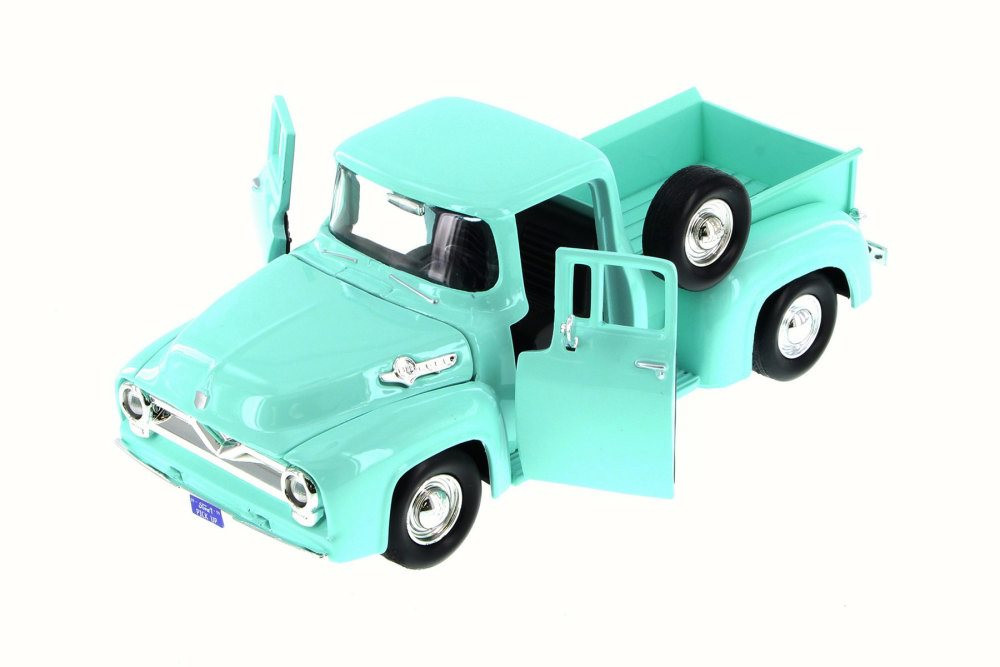 1955 Ford F-100 Pick Up truck, Green/Turquoise - Motor Max 79341WB - 1/24 Scale Diecast Model Toy Car