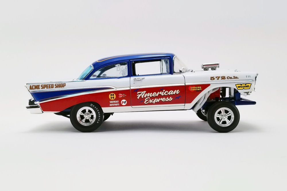 American Express 1957 Chevy Bel Air Gasser, Red White and Blue - Acme A1807007 - 1/18 scale Diecast Model Toy Car