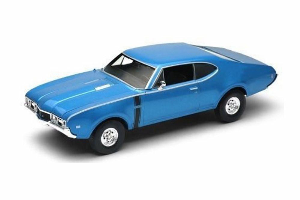 1968 Oldsmobile 442, Blue - Welly 24024WBU - 1/24 Scale Diecast Model Toy Car