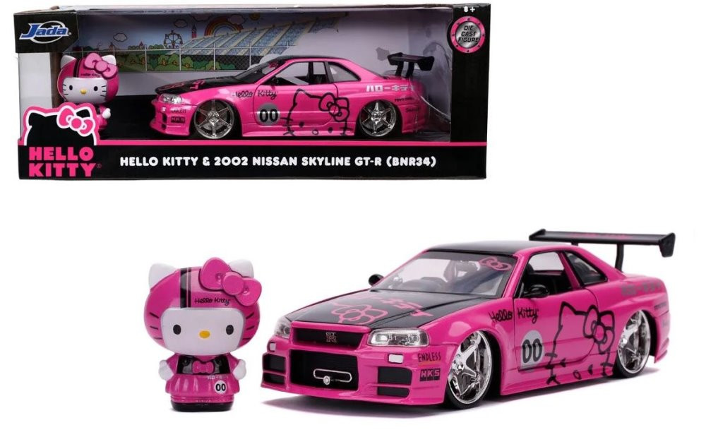 2002 Nissan 2002 Nissan Skyline GT-R with Hello Kitty, Hello Kitty - Jada Toys 31613 - 1/24 scale Diecast Model Toy Car