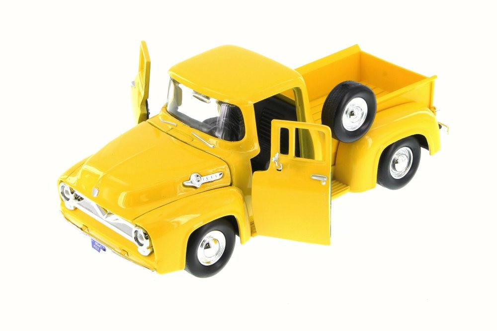 1955 Ford F-100 Pick Up truck, Yellow - Motormax 79341/16D - 1/24 Scale Diecast Model Toy Car (Brand New, but NOT IN BOX)