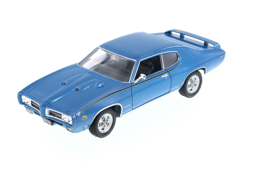 1969 Pontiac GTO, Blue - Welly 22501 - 1/24 Scale Diecast Model Toy Car (Brand New, but NOT IN BOX)